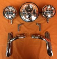 1XChrome Combo Harley Daviddson Projector 7 4 5 Auxiliary Spot Fog Light With Shell And Auxiliary