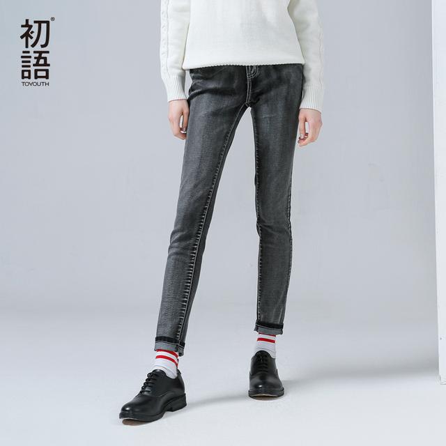 Toyouth Mulheres Nova Chegada Calça Jeans de Algodão Casuais Outono Bolsos Botão Branqueada Calças Tornozelo-Comprimento Em Linha Reta
