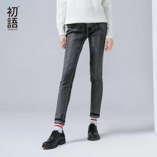 Toyouth New Arrival Women Casual Cotton Jeans Autumn Pockets Button Bleached Ankle-Length Straight Pants