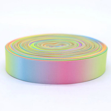 ZERZEEMOOY 1 #8243 25MM 50YARD Rainbow ribbon high quality printed polyester Satin ribbon DIY handmade materials wedding gift wrap cheap Ribbons Grosgrain Single Face GEOMETRIC 100 Polyester LWZD190509