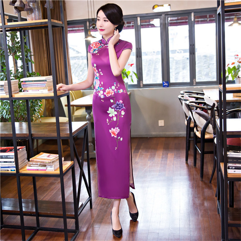 цена New Arrival Print Chinese Style Evening Dress Vintage Women Slim Long Satin Qipao Lady Mandarin Collar Flower Cheongsam