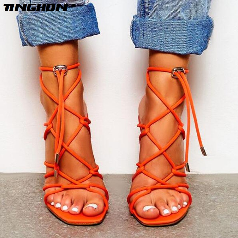 TINGHON New Ankle Strap Cross-tied Women Sandals High Heels 12cm Sexy Lace-Up Quality Shoes high heel sandals