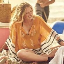 ANLALA New European beach coat is not cut positioning pattern loose chiffon blouse skirt beach resort