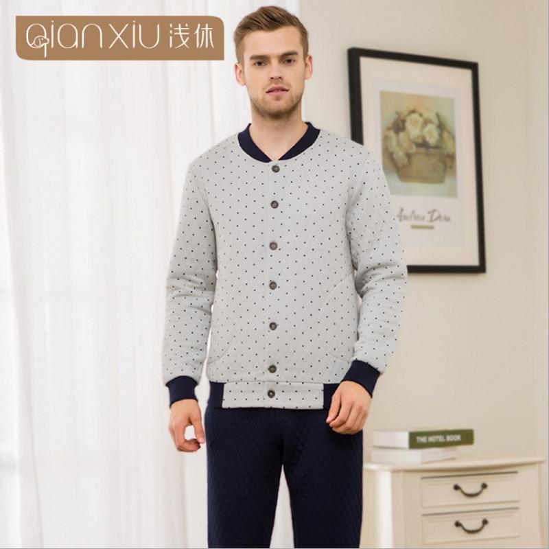 Suit Pajama-Sets Velvet Polka-Dot Sleepwear Couples Male Cotton Casual Brand Autumn Pants