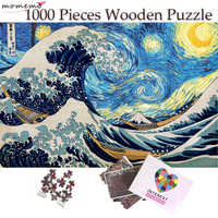 MOMEMO Puzzle 1000 Pieces Creative The Great Wave Starry Sky Puzzle Adults Wooden Jigsaw Puzzles Home Decor Collectiable Gifts