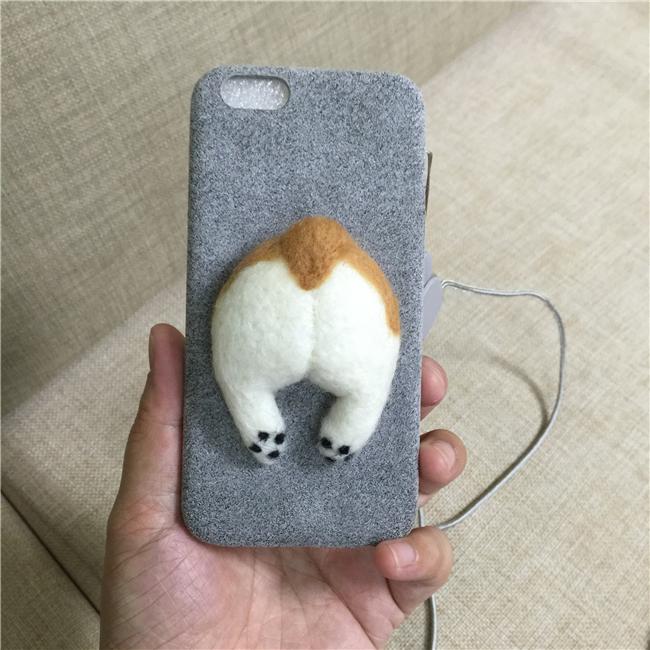 Corgi case handmake igły filcu wełnianego słodkie cat dog tyłek tyłek pokrywa dla apple iphone 6 6s plus iphone 7 7 p miękkie telefon komórkowy case 17