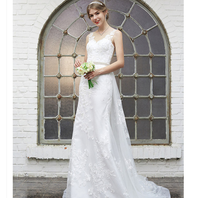 LAN TING BRIDE Beach Wedding Dress Court Train Lace Bridal Gown with  Beading Appliques Buttons Sash Ribbon Vestido de Noiva 3e1c459968f0