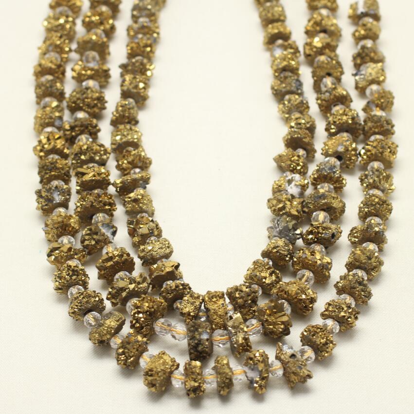 Brin de perles d'achate de géode plaqué or titane mystique, perles en vrac Drusy Druzy forées de fabrication de bijoux de mode