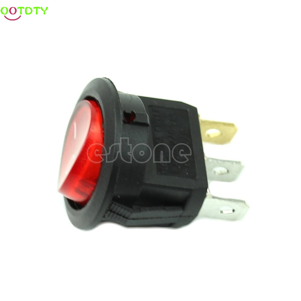 5PCs Light ON-OFF SPST Round Button Dot Boat Car Auto Rocker Switch AC 6A/250V R  828 Promotion 10pcs ac 250v 3a 2 pin on off i o spst snap in mini boat rocker switch 10 15mm