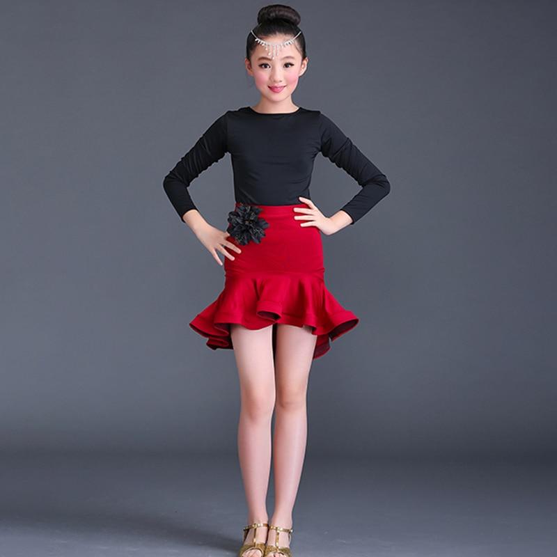 Girls Dance Clothes Practice Latin Dress Red Competition Clothing Performance Latin Skirt 2018 New Children Ballroom Dancewear