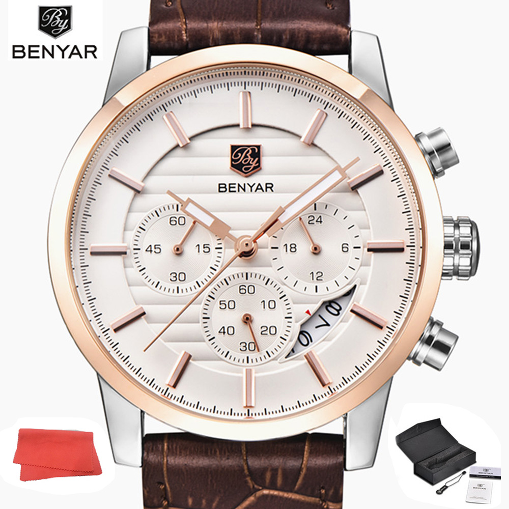 цена BENYAR Watch Men Stainless Steel Chronograph Sports Mens Watches Luxury Quartz Business Watch Relogios Masculinos
