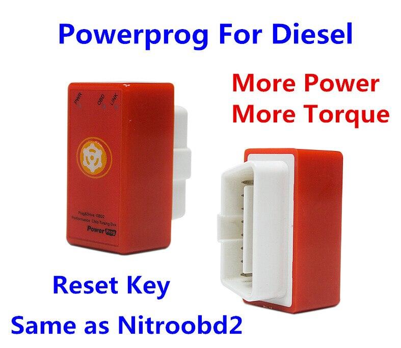 Prix pour 2016 Réinitialiser NitroOBD2 Puce Tuning Box Nitro OBD2 Powerprog Plug And lecteur OBD2 Chip Tuning Travaux Pour Boîte de Détail Diesel Puissance Prog