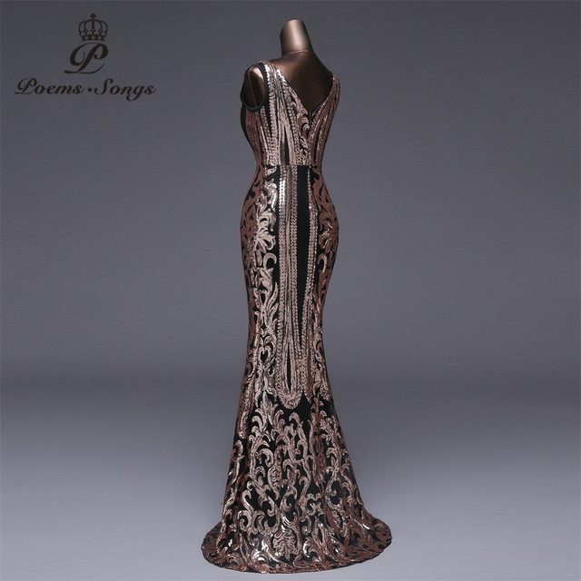 Poems Songs New Double-V Long Evening Dress vestido de festa Sexy Backless Luxury Gold Sequin formal party dress prom gowns