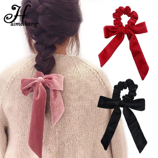 Haimeikang Cute Girl Hair Rope Velvet Scrunchies Bowknot Elastic Hair Bands for Women Bow Ties Ponytail Holder Accessories