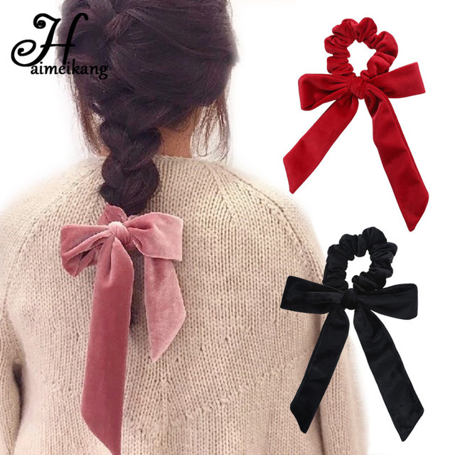 Haimiekang Cute Girl Hair Rope Velvet Scrunchies Bowknot Elastic Hair Bands for Women Bow Ties Ponytail Holder Accessories