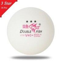 2018 10 шт двойные рыбки белые шарики для настольного тенниса V40 + 3 звезды 40 мм ABS пластиковые шары со швом для тренировок пинг-понга, дропшиппин...