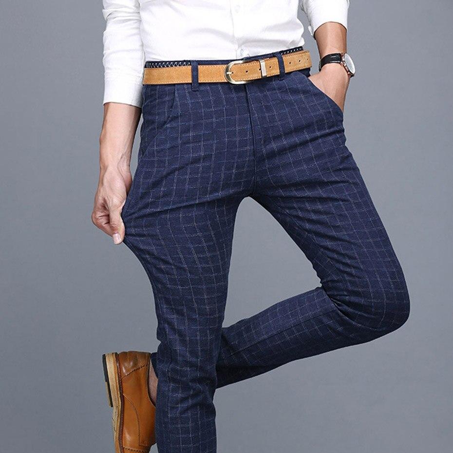 Zogaa Kotak Kotak Periksa Pria Gaun Celana Slim Fit Biru Pantalon Kostum Homme Gaun Musim Panas Celana Untuk Pria Pantalon De Vestir Hombre Celana Kargo Aliexpress