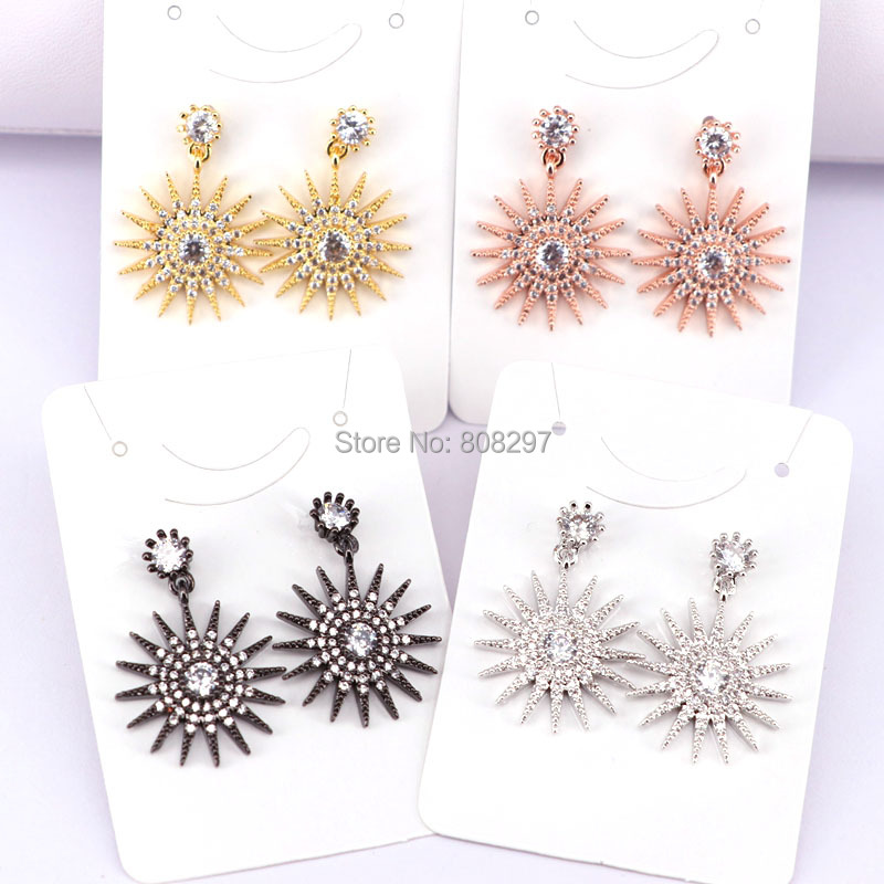 10Pair New Mix color Micro Pave Cubic zircon Crystal sun sunflower Charm Earrings Drop Earring for