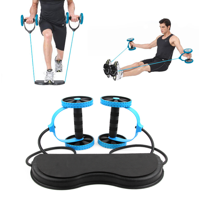 New Muscle Exercise Equipment Home Fitness Equipment Double Wheel Abdominal Power Wheel Ab Roller Gym Roller Trainer Training