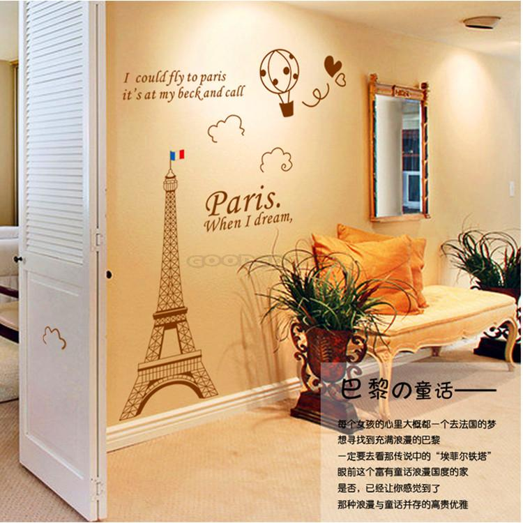 New Love Paris Pattern Wall Stickers Home Decoration Vinyl Wall ...