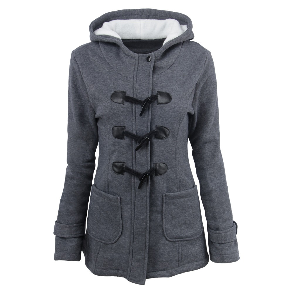 Autumn and winter women's hooded cotton-blend horn leather buckle in the long coat jacket cotton women plus size basic jacket