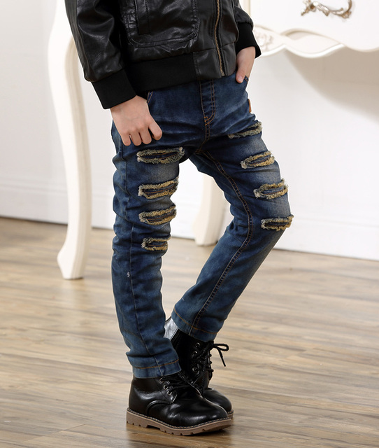 Children Casual Trousers Baby Boys Jeans Winter thicken  Long Denim Pants Kids Ripped Jeans Boys clothes CalCa Jeans Infantil