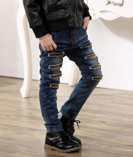 Crianças Calças Casuais Meninos calças de Brim Do Bebê Inverno engrossar Meninos roupas Longas Calças Jeans Crianças Jeans Rasgados Jeans CalCa Infantil