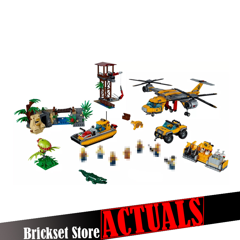 Lepin 02085 1400Pcs City Series The Jungle Air Drop Helicopter Set Compatible with 60162 DIY Building Blocks Bricks Toys Model ynynoo lepin 02043 stucke city series airport terminal modell bausteine set ziegel spielzeug fur kinder geschenk junge spielzeug