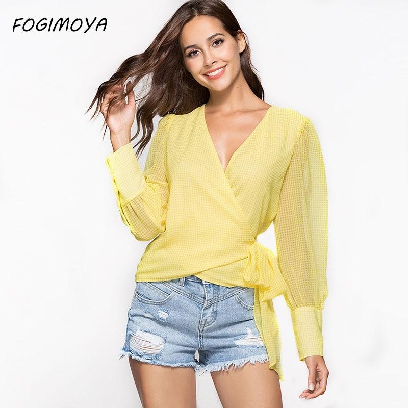 FOGIMOYA Lace Up Chiffon Blouses Women 2018 Summer Fashion Chiffon Deep V Neck Patchwork Tops Womens Long Sleeve Blouses New