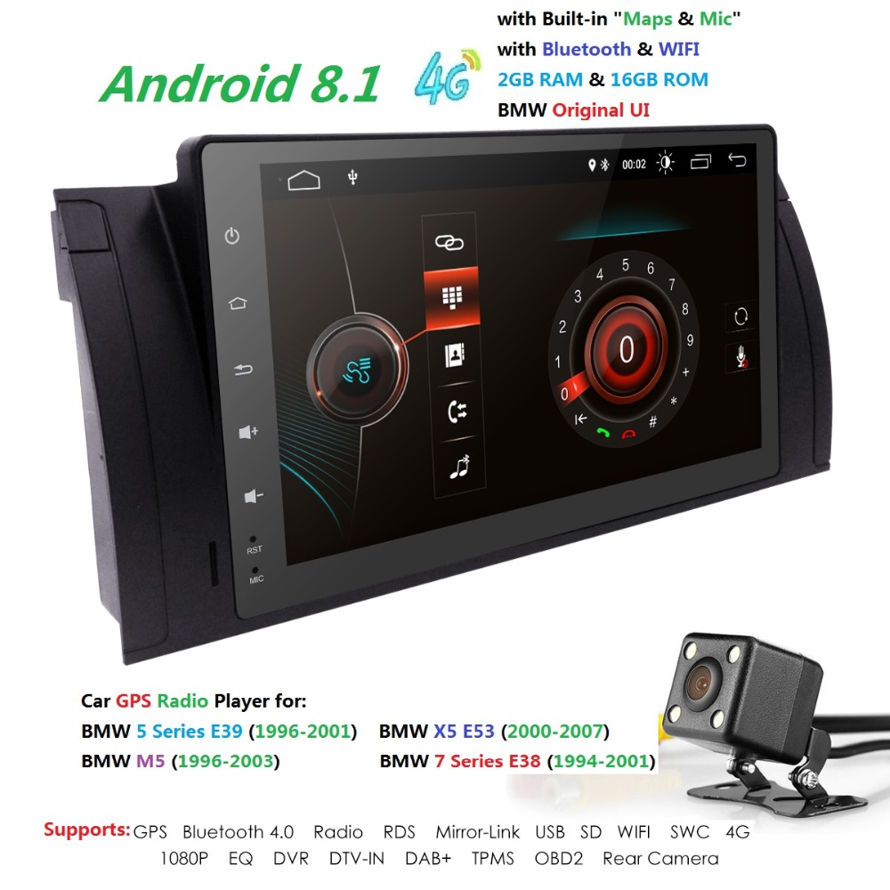 9 дюймов 1024x600 HD Сенсорный экран 1 din Android8.1 Автомобильный мультимедийный Радио стерео для BMW E39 E53 X5 Wi-Fi 4G Bluetooth DVR RDS USB BT