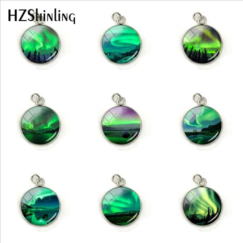 Green Northern Lights Pendant, Northern Light Jewelry, Light Necklace Charm, Aurora Hand Craft Stainless Steel Jewelry Accessory