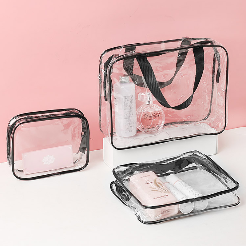 Women Transparent Makeup Bags Fashion PVC Clear Cosmetic Bags Travel Organizer Beauty Case Toiletry Bath Wash Make Up Kit Case