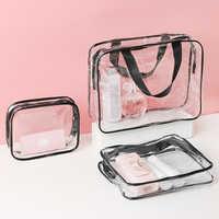 Women Transparent Makeup Bags Fashion PVC Clear Cosmetic Bags Travel Organizer Beauty Case Toiletry Bath Wash Make Up Kit Case