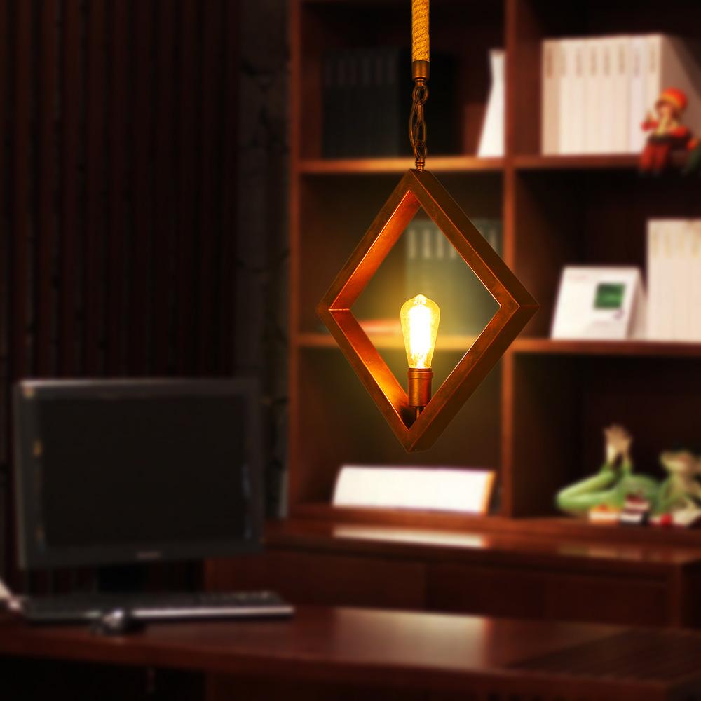 Simple Iron Diamond Pendant Lights Creative Living Room Restaurant Bar Clothing Store Pendant Lamp Retro Loft Pendant Light bamboo cages pendant lights creative hand made living room dining room simple coffee shop clothing store decorative lamps za