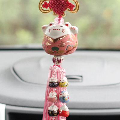 Image 2 - Interior Hanging Ornament Ceramic Maneki Neko Lucky Cat Fat Cat Crystal Sleutelhanger Car Pandent  Key chain Chaveiro Decoration-in Key Chains from Jewelry & Accessories