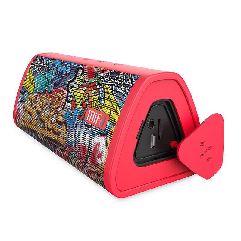 <font><b>MIFA</b></font> Red-Graffiti Bluetooth Speaker Built-in Microphone Stereo Rock Sound Outdoor 10W Portable Wireless Speaker Support TF card image
