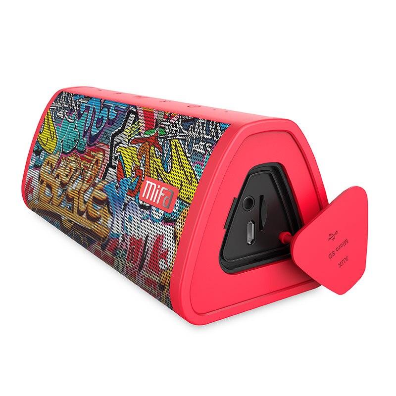 MIFA Rouge-Graffiti Bluetooth Haut-Parleur Intégré Microphone Stéréo Son Rock En Plein Air 10 w Portable Sans Fil Haut-Parleur de Soutien TF carte