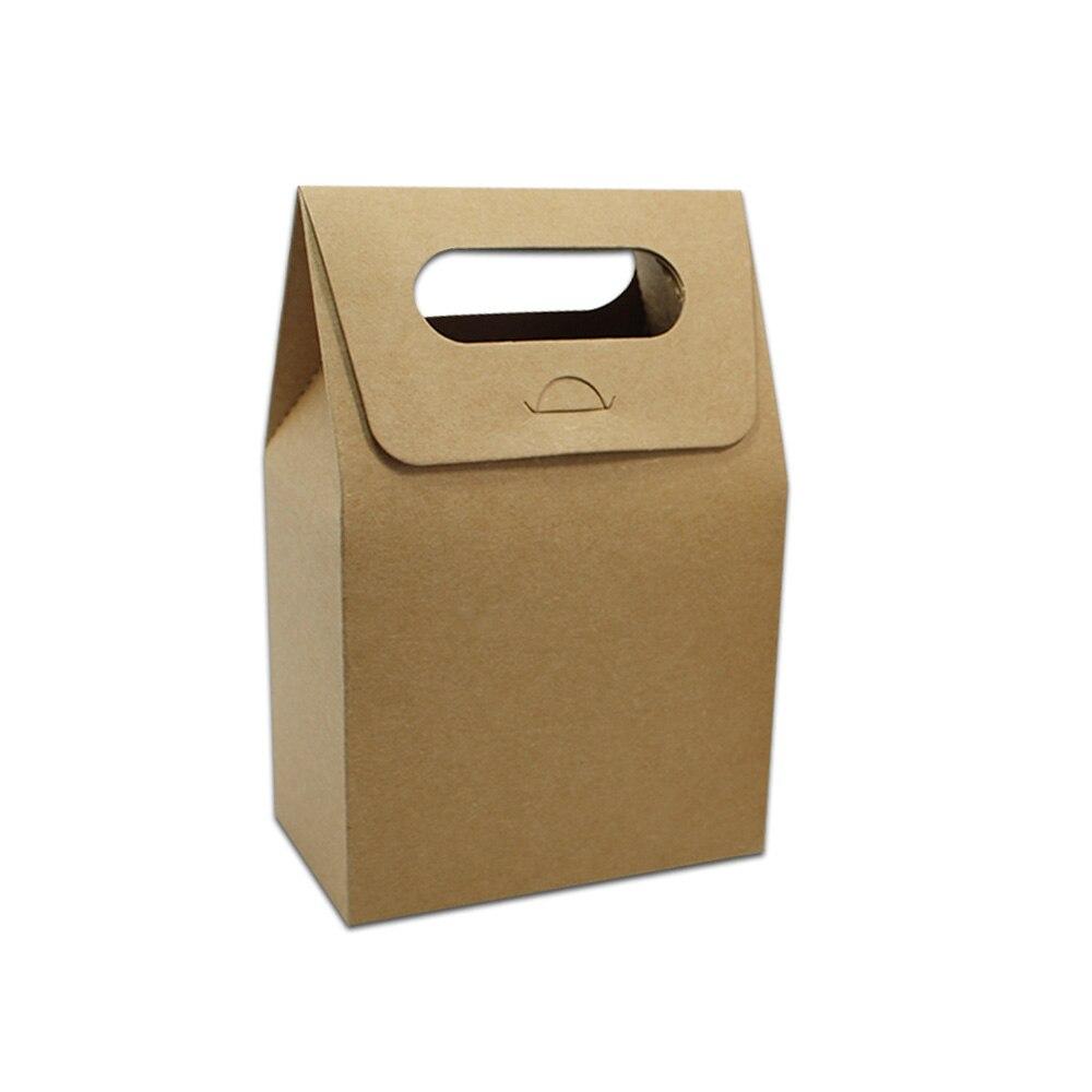 25 шт./лот kraft Бумага с ручкой Упаковка Коробки белый и коричневый Цвет коробки Бумага Доска Свадьба День рождения Юбилей Party Box