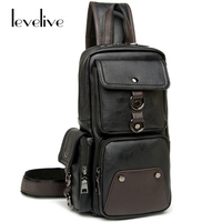 LEVELIVE Men S Multifunctional Chest Pack Casual Male Leather Chest Packs Bag Back Men Travel Shoulder