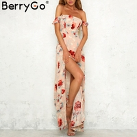 BerryGo Off Shoulder Print Boho Maxi Dress Women Side Split Backless Sexy Long Dress Ruffle Beach