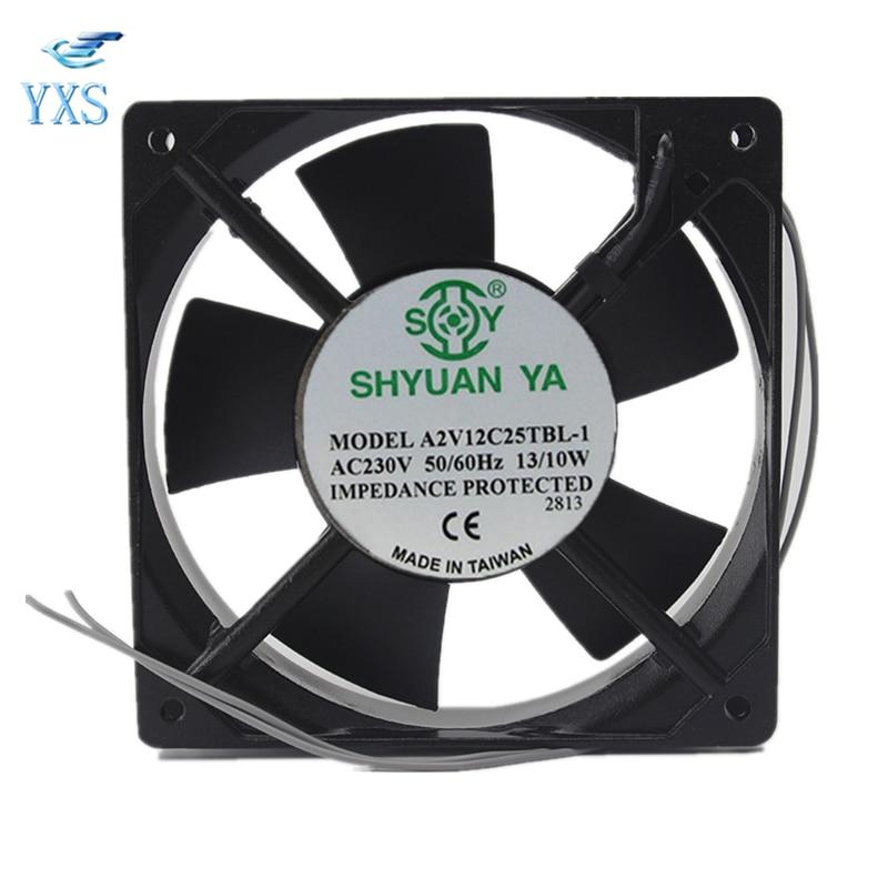 A2V12C25TBL-1 AC 230V 0.07A/0.06A 13W/10W 3000RPM 12025 12CM 120*120*25mm 2 Wires Double Ball Bearing Cooling Fan cooling fan 220v 120mm aa1252mb at adda 120 120 25mm 12025 12cm ac fan axial fan outlet