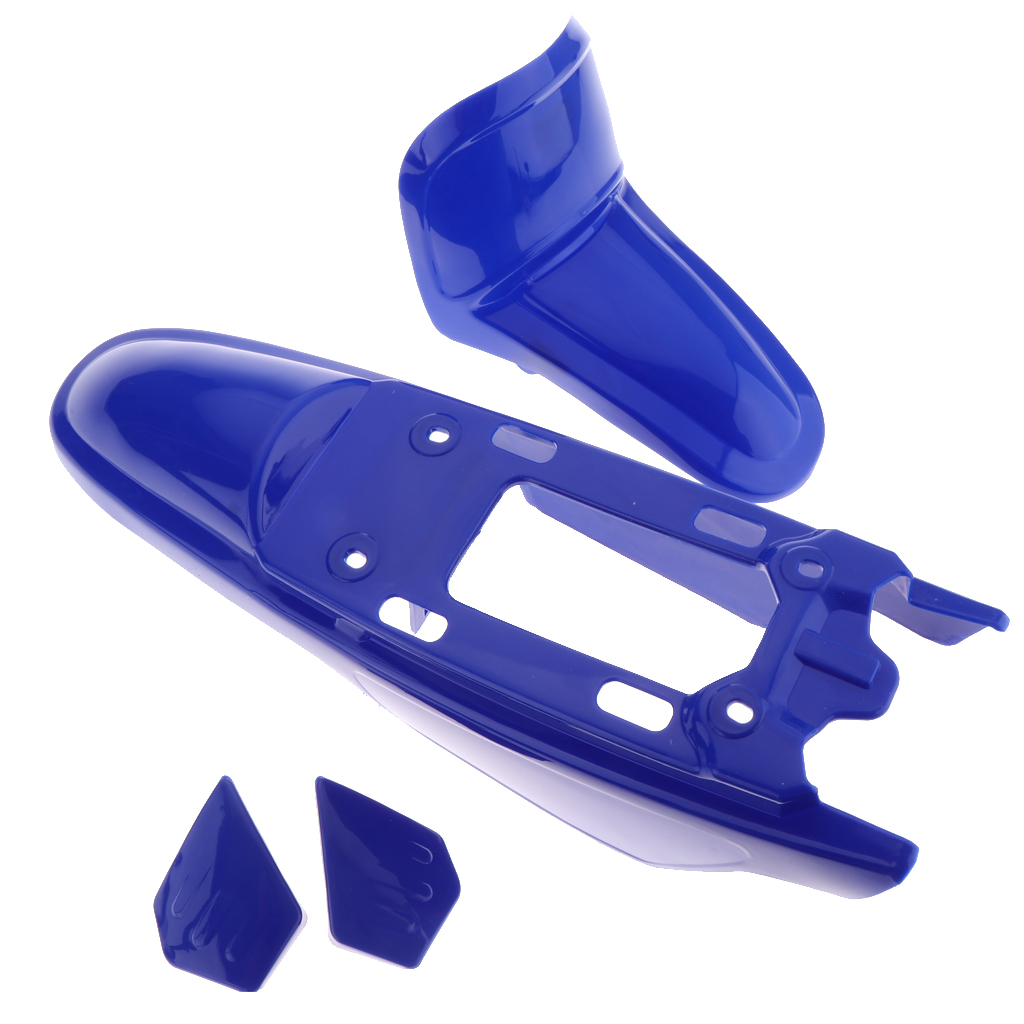 1 Set Plastic Motorcycle Front Rear Fender Mudguard Direct Replacement Fender Fairings Parts For Yamaha PW50 PY50 -Blue