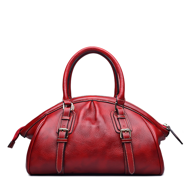 Genuine Leather Office Ladies Handbags Satchel Tote Luxury Bags Red