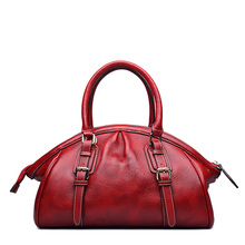 QISU Genuine Leather Office Ladies Handbags Female Tote Bag with single shoulder strap