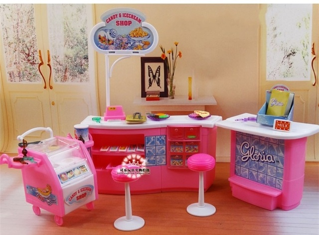 Plastic Play Set Candy And Ice Cream Shop Gift Set Doll Accessories Doll  Furniture For Barbie