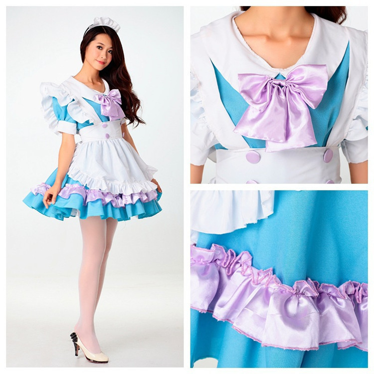 Free shipping Lolita costume Anime maid Alice Maid dress Dress + apron + Headband hot sale