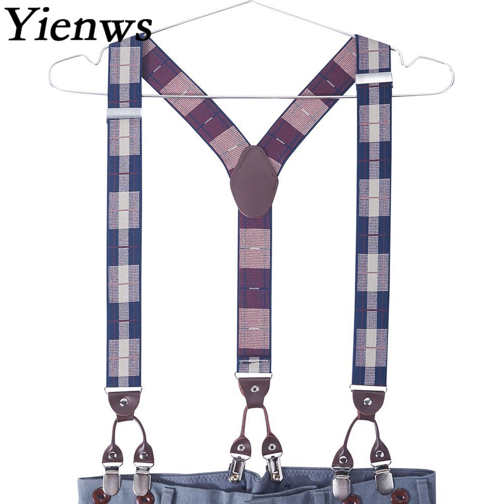 Yienws 6 Clip Suspenders Man For Pants Jacquard Plaid Suspenders Men Trousers Striped Taller Braces 125cm Bretelles YiA139