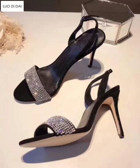 Talons À Noir Bout Glitter Ouvert Mariage Soirée Étincelle Strass Boucles rouge Diamant Chaussures Hauts De Cristal Sandales 2019 Femmes TBPnqvZB