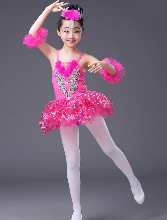 Розовое, голубое детское платье-пачка с блестками и белым лебедем, озеро, бальное платье для танцев, одежда для бальных танцев - Цвет: Родо