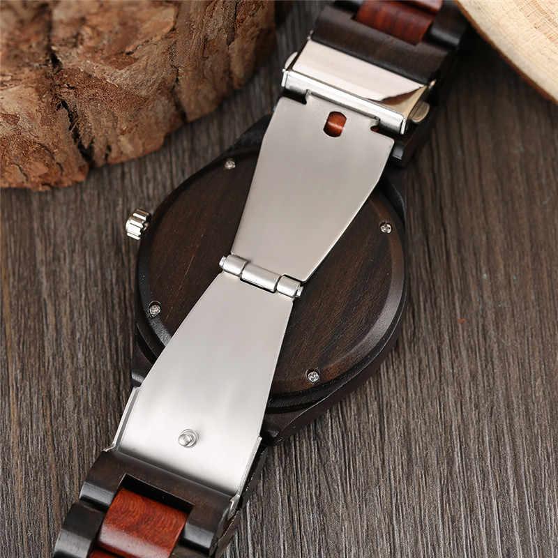 גבוהה באיכות אופנה גברים עץ קוורץ שעוני יד אדום שחור עץ להקת פשוט חיוג חסכוני זכר שעון מתנה הטובה ביותר
